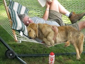 Stu & Tug on the hammock