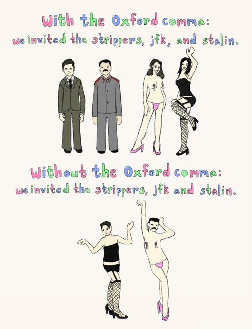 And now a plug for the Oxford comma.